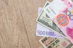 Japanese yen, US dollar, Chinese yuan, Euro. Financial concept Royalty Free Stock Photos