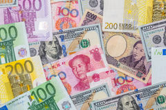 Japanese yen, US dollar, Chinese yuan, Euro. Financial concept Royalty Free Stock Images