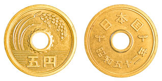 5 japanese yens coin Royalty Free Stock Images
