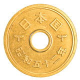5 japanese yens coin Royalty Free Stock Photos
