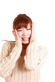 Japanese young woman shocked Royalty Free Stock Photography