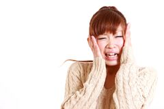 Japanese young woman shocked Royalty Free Stock Photos