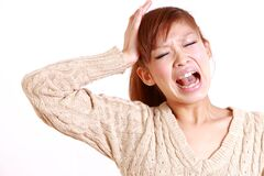 Japanese young woman shocked Stock Image