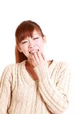 Japanese young woman shocked Royalty Free Stock Photo
