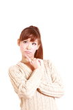 Japanese young woman thinks about something Stock Photography