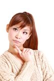 Japanese young woman thinks about something Stock Photos