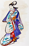 Japanese young woman in traditional dress. Historical clothes - Japanese young woman in traditional dress stylized under print of Kaigetsudo Ando (Ando Yasunori Stock Images