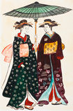 Japanese young women geishas in traditional clothes. Historical clothes - Japanese young women geishas in traditional clothes stylized under print of Torii Stock Illustration