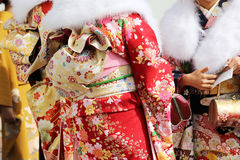 Japanese young women in kimono Stock Photos