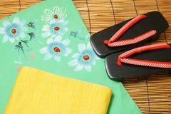 Japanese yukata, obi, and sandals. Royalty Free Stock Images