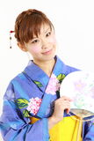 Japanese yukata with paper Fan Royalty Free Stock Photos