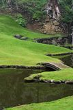 Japanese Zen Garden. Garden and bridge in a Japanese Zen temple in Kamakura, Japan Stock Photo