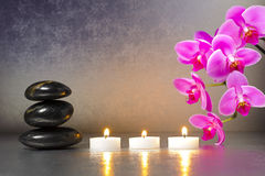 Japanese zen garden with candle lights royalty free stock images