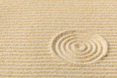 Japanese zen garden with circles Stock Photography