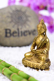 Japanese ZEN garden with Feng shui. And Buddha figure Royalty Free Stock Image