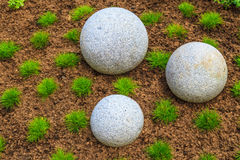 Japanese Zen Garden and granite stone boulders Royalty Free Stock Image