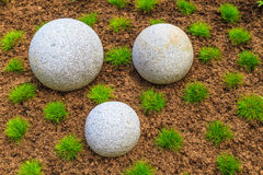 Japanese Zen Garden and granite stone boulders Royalty Free Stock Photos