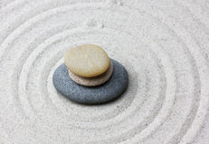 Japanese zen garden meditation stone. Royalty Free Stock Photography