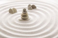 Japanese zen garden meditation stone for concentration and relaxation sand and rock for harmony and balance in pure simplicity Stock Images