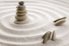 Japanese zen garden meditation stone for concentration and relaxation sand and rock for harmony and balance in pure simplicity Stock Photo
