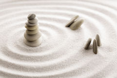 Japanese zen garden meditation stone for concentration and relaxation sand and rock for harmony and balance in pure simplicity Stock Image