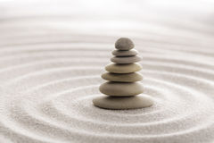 Japanese zen garden meditation stone for concentration and relaxation sand and rock for harmony and balance in pure simplicity Royalty Free Stock Photos