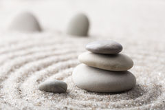 Japanese zen garden meditation stone for concentration and relaxation sand and rock for harmony and balance in pure simplicity - m royalty free stock image