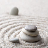 Japanese zen garden meditation stone for concentration and relaxation sand and rock for harmony and balance in pure simplicity - m stock photography