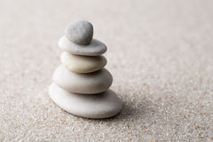 Japanese zen garden meditation stone for concentration and relaxation sand and rock for harmony and balance in pure simplicity - m royalty free stock images