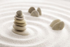 Japanese zen garden meditation stone for concentration and relaxation sand and rock for harmony and balance in pure simplicity - m royalty free stock photography