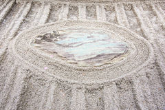 Japanese zen garden meditation stone in lines sand Royalty Free Stock Images