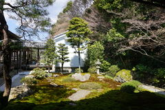 Japanese zen garden in Nanjenji temple, Kyoto stock photos