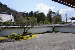 Japanese zen garden in Nanjenji temple, Kyoto royalty free stock photography
