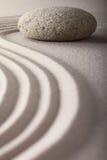 Japanese zen garden raked sand stone meditation Stock Images