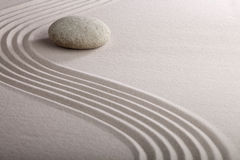 Japanese Zen Garden Raked Sand Stone Meditation Royalty Free Stock Images
