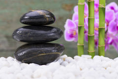 Japanese zen garden with stacked stones Royalty Free Stock Photography