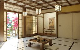 Japanese zen room Royalty Free Stock Images