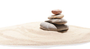 Japanese zen stone garden on sand stock photo