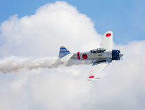 Japanese zero fighter. Mitsubishi A6M Zero  Commemorative Air Force's recreation of the Japanese attack on Pearl Harbor at Wings Over South Texas Air Show Royalty Free Stock Image
