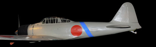 Japanese Zero  World War Two fighter aircraft, isolated on black Royalty Free Stock Photo