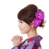 Japaneses woman praying Royalty Free Stock Images