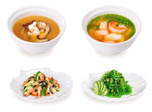 Japanesse soup and salad. Japanese soup and salad. Isolated phptography Royalty Free Stock Photos