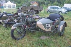 Japanische alte Militär-Rikuo-Motorrad Art 97 bei der 3. internationalen Sitzung von Stockbilder