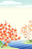 Japanische Aprikose: Rot und Weiß Lizenzfreie Stockfotos
