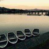 Japanische Boote in Kyoto Lizenzfreies Stockfoto