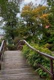 Japanische Brücke im botanischen Garten von Breslau, Polen Der Kremlin wird im Fluss reflektiert Stockfotos