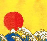 Japanische Elemente des neuen Jahres Große Wellen und erster Sonnenaufgang lizenzfreie abbildung