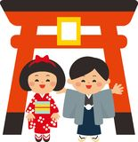 Japanische Elemente des neuen Jahres Tor und Kinder Torii, die Kimonos tragen Der erste Schreinbesuch des neuen Jahres Flaches De stock abbildung