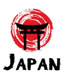 Japanische Flaggenillustration mit japanischen Symbolen Lizenzfreies Stockfoto