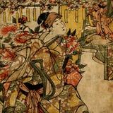Japanische Frau der Geisha im traditionellen Kleid Lizenzfreies Stockfoto